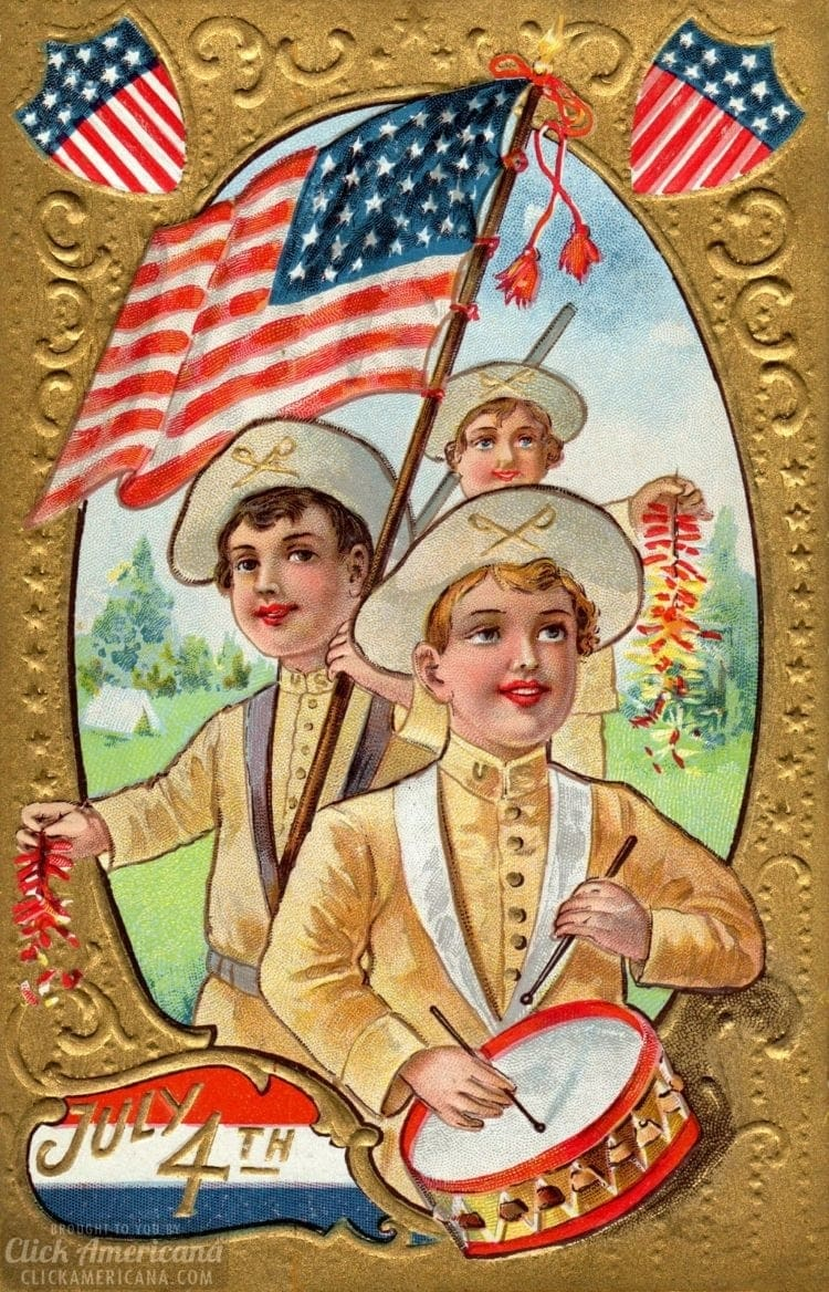 Vintage kids with a flag for Independence Day