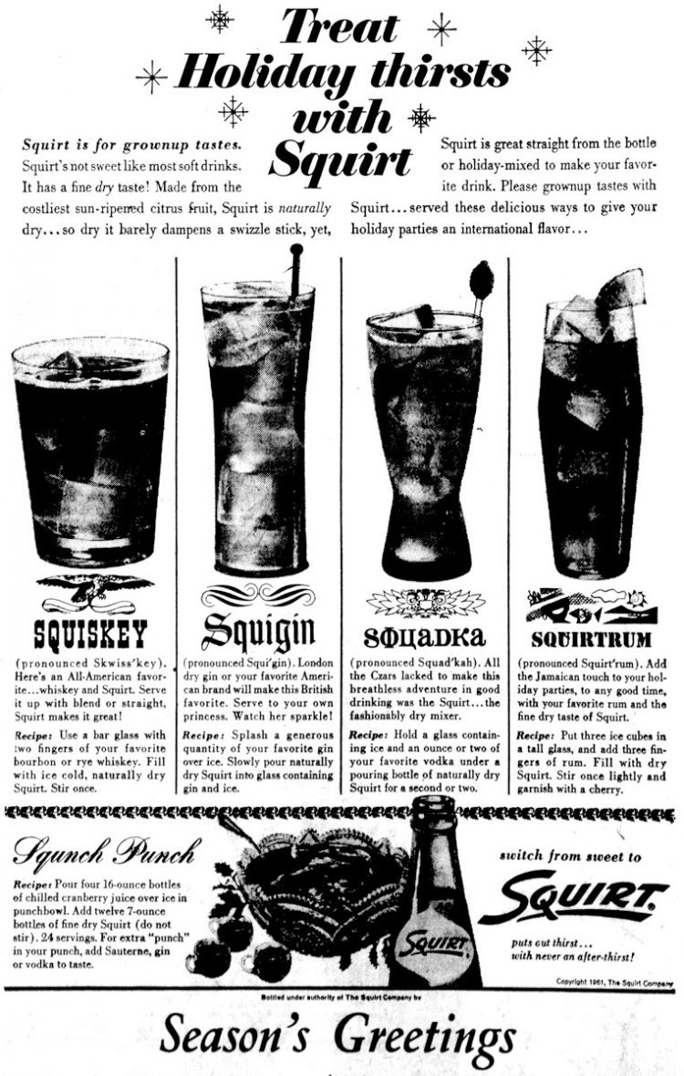 5 Squirt cocktail recipes (1962)