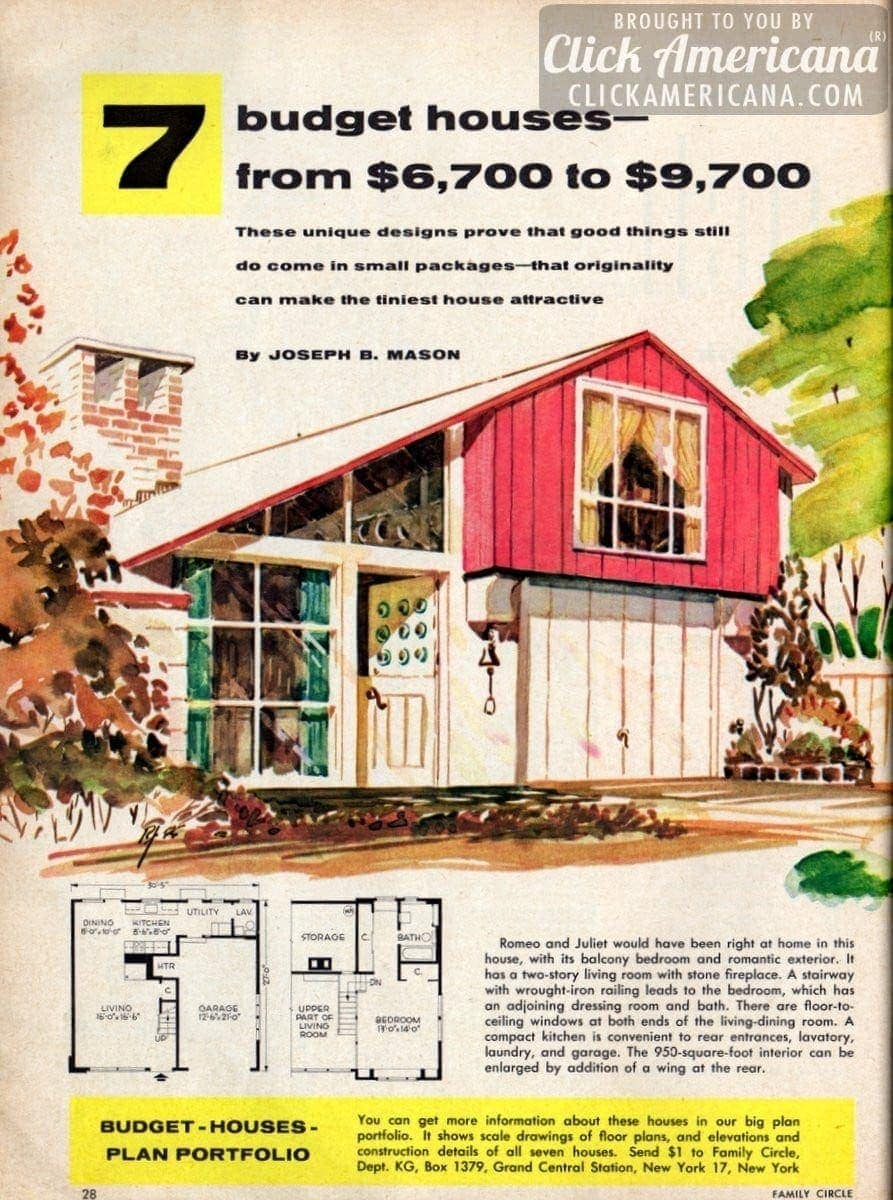 7 Budget Small House Designs 1956 Click Americana