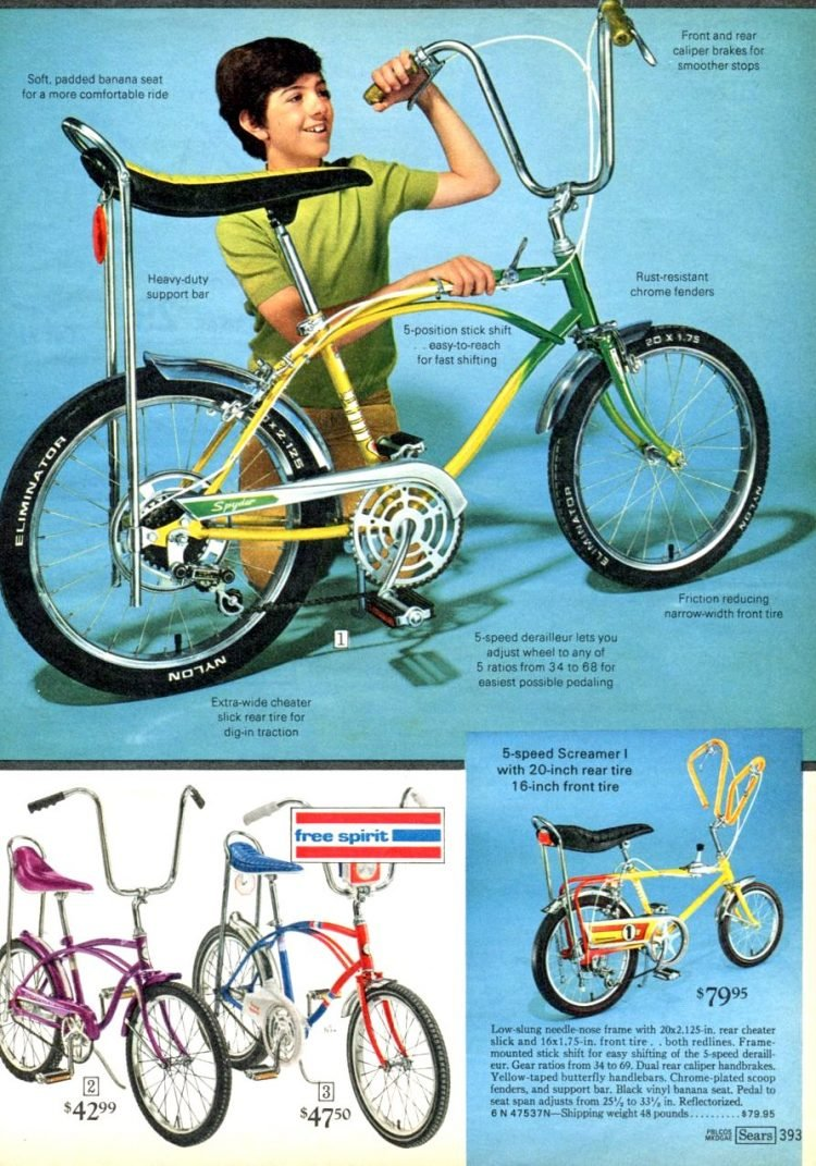5-speed Screamer I with 20-inch rear tire and more banana seat bikes from 1968-1970