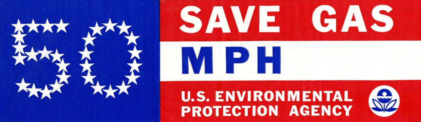 50 MPH vintage US EPA bumper sticker - Save gas
