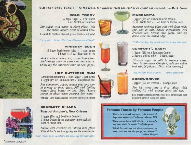 Madmen-era vintage drink recipes from the sixties - Old-fashioned toasts