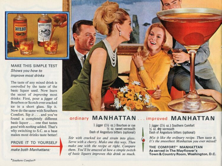 50 drinks and toasts from the '60s - Ordinary Manhattan recipe and the improved version