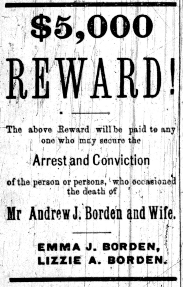 5000 dollar reward notice for Borden murders - Aug 27 1892
