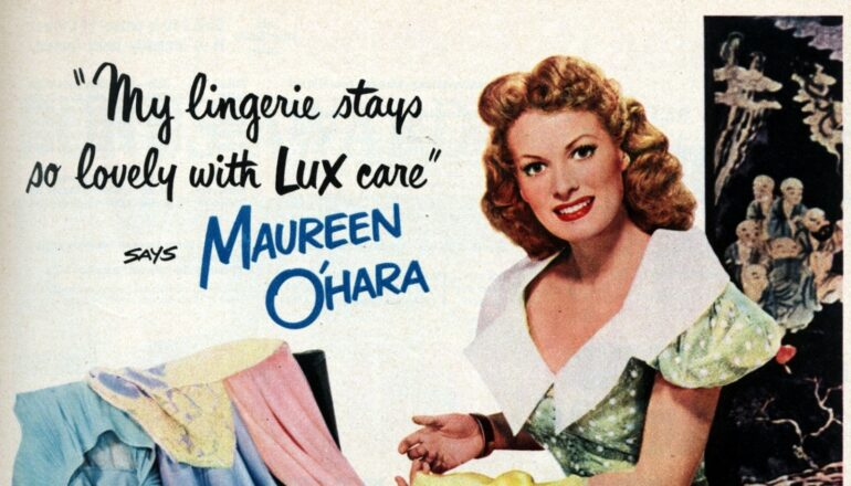 555a0c86fe1 Actress Maureen O Hara washes her lingerie in Lux soap flakes (1950 ...