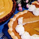 50s recipes - pumpkin pie with a gingersnap crumb crust, and an orange-pumpkin chiffon pie