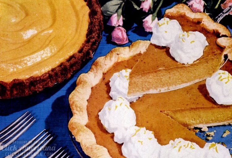50s recipes - pumpkin pie with a gingersnap crumb crust, and an orange-pumpkin chiffon pie