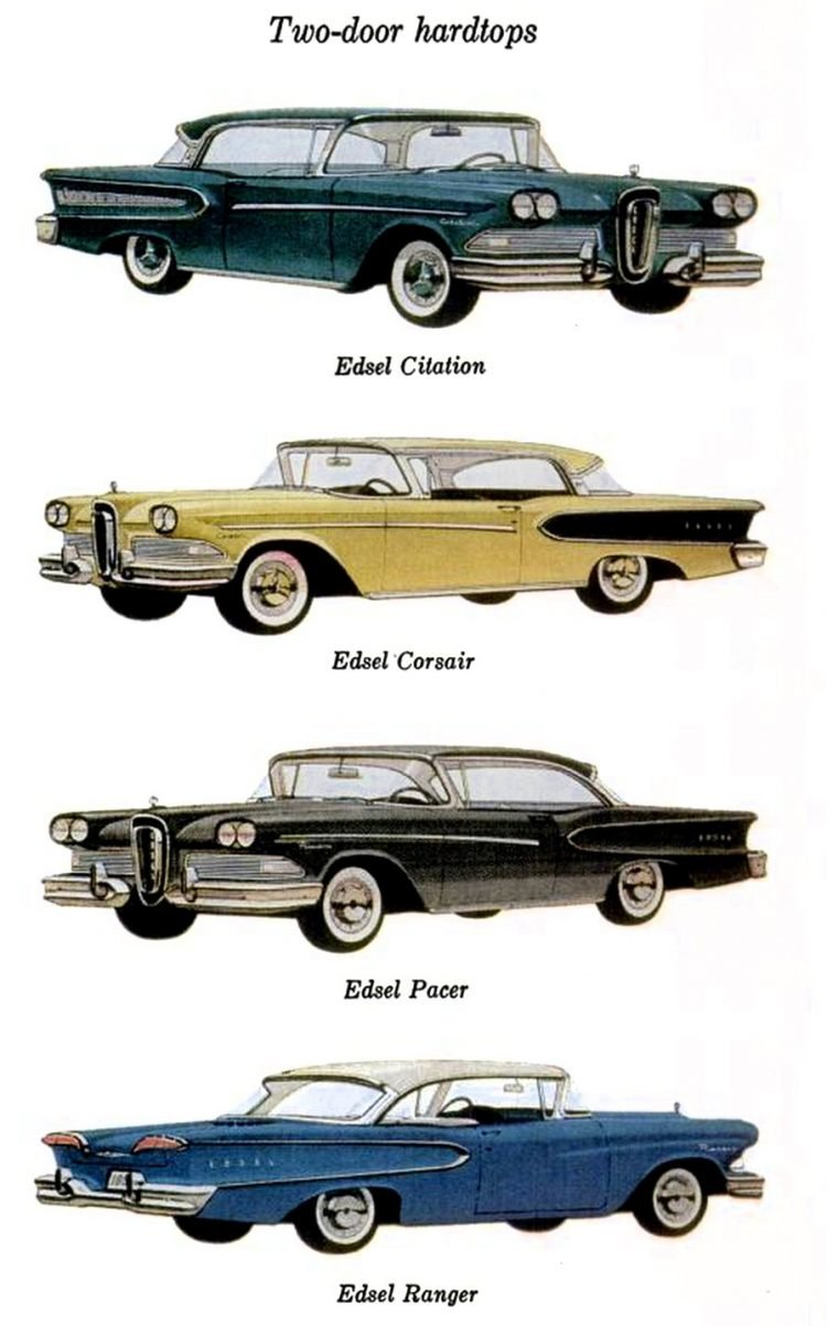 58 Ford Edsel cars - Two-door hardtops