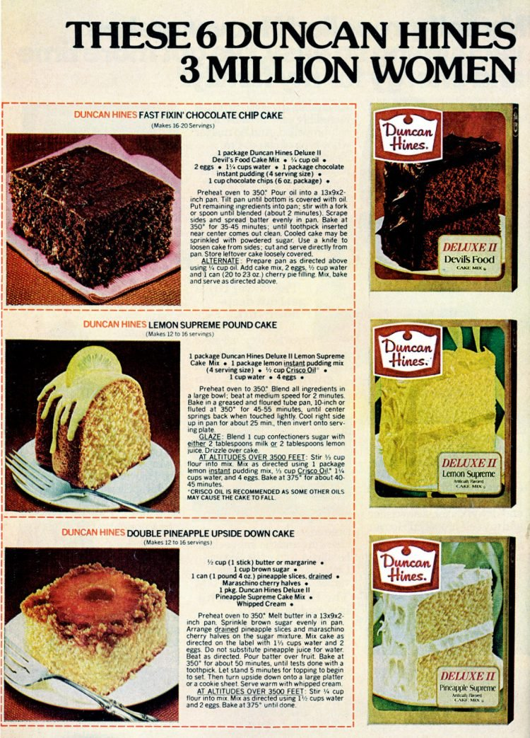 6 dessert recipes made with Duncan Hines cake mix (1978)