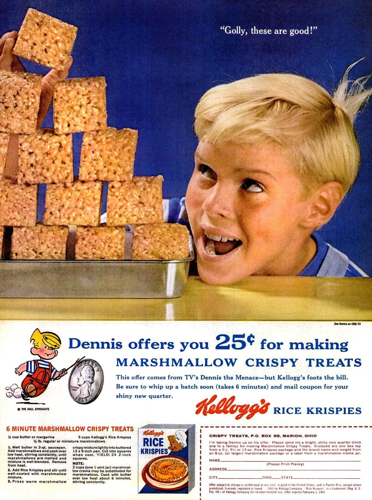 Dennis the Menace with a 6-minute Marshmallow Crispy Treats recipe (1960)