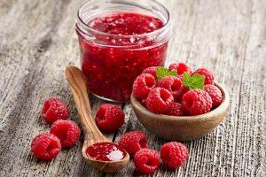Raspberry jam with whole berries