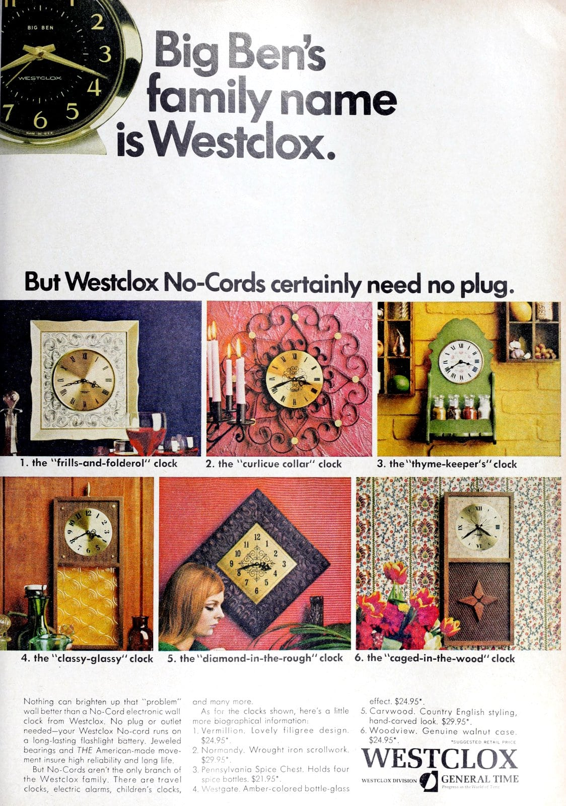 6 sixties styles of Westclox No-Cords wall clocks (1968)
