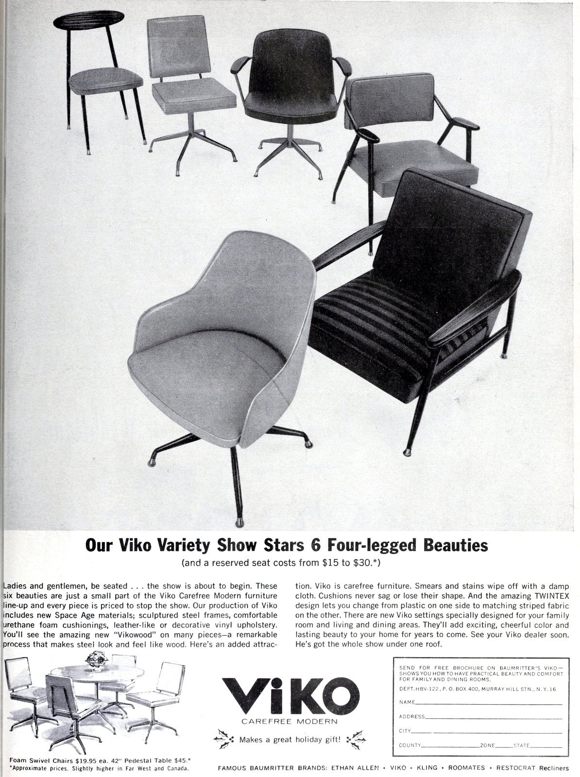 6 vintage Viko chair styles (1962)