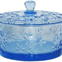 Jomop Serving Bowl Decorative Glass Salad Bowl Dessert Bowl with Lid Fruit Transparent Container Storage Instant Noodle Bowl 25oz (Blue)
