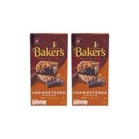 Baker's Unsweetened Baking Chocolate Bar, 4 Oz (Pack of 2) KOSHER OKd