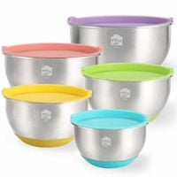 Mixing Bowls Set of 5, Wildone Stainless Steel Nesting Mixing Bowls with Lids, Non-Slip Silicone Bottom, for Mixing & Beating, Stackable Storage (1.5, 2.0, 3.0, 4.0, 5.0 qt)