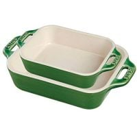 Staub 40508-629 Ceramics Rectangular Baking Dish Set, 2-piece, Basil
