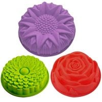 3 Pack Flower Shape Silicone Cake Bread Jello Molds