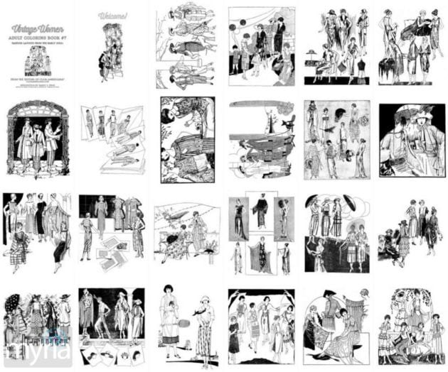 Vintage Women Coloring Book 7 Fashion Layouts From The Early 1920s on great gatsby style women hats