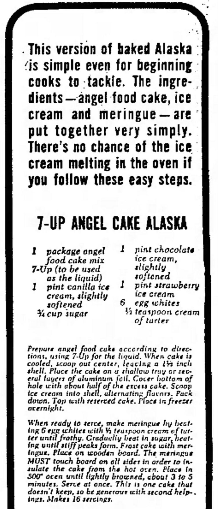 7-Up Angel Cake Alaska recipe