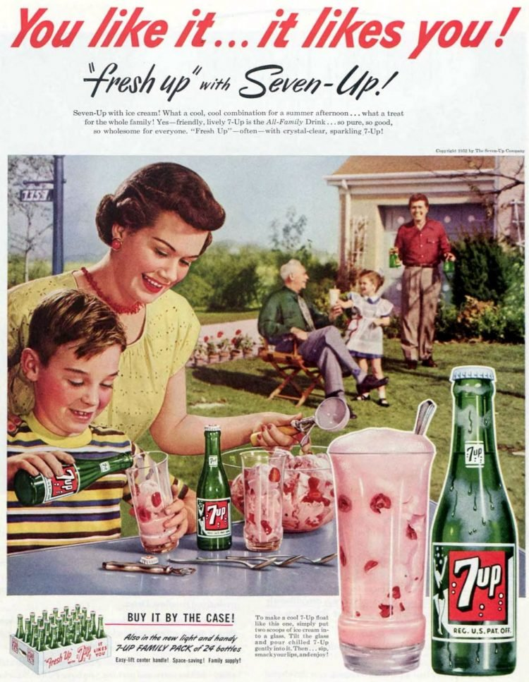 7-Up Float Seven-Up and your favorite ice cream 1952