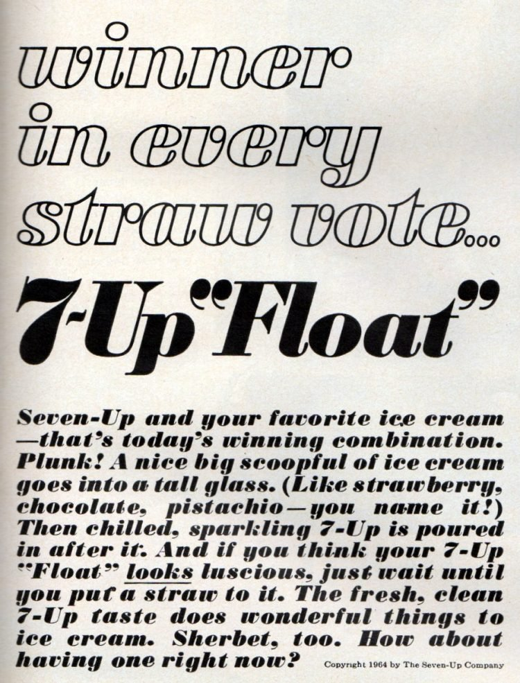 7-Up float Seven-Up soda & ice cream for a truly retro treat 1964 (2)