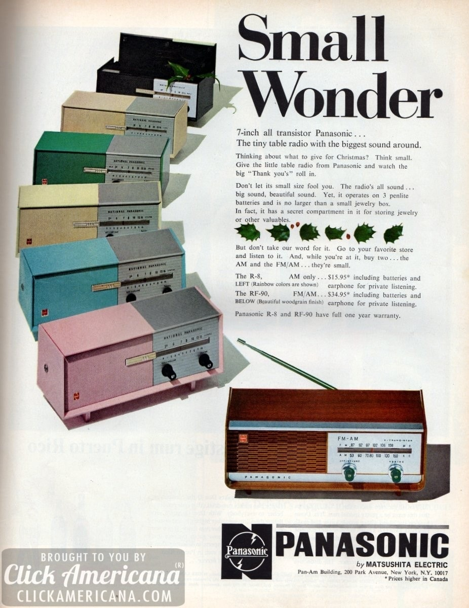 7-inch all-transistor Panasonic tiny table radio (1965)
