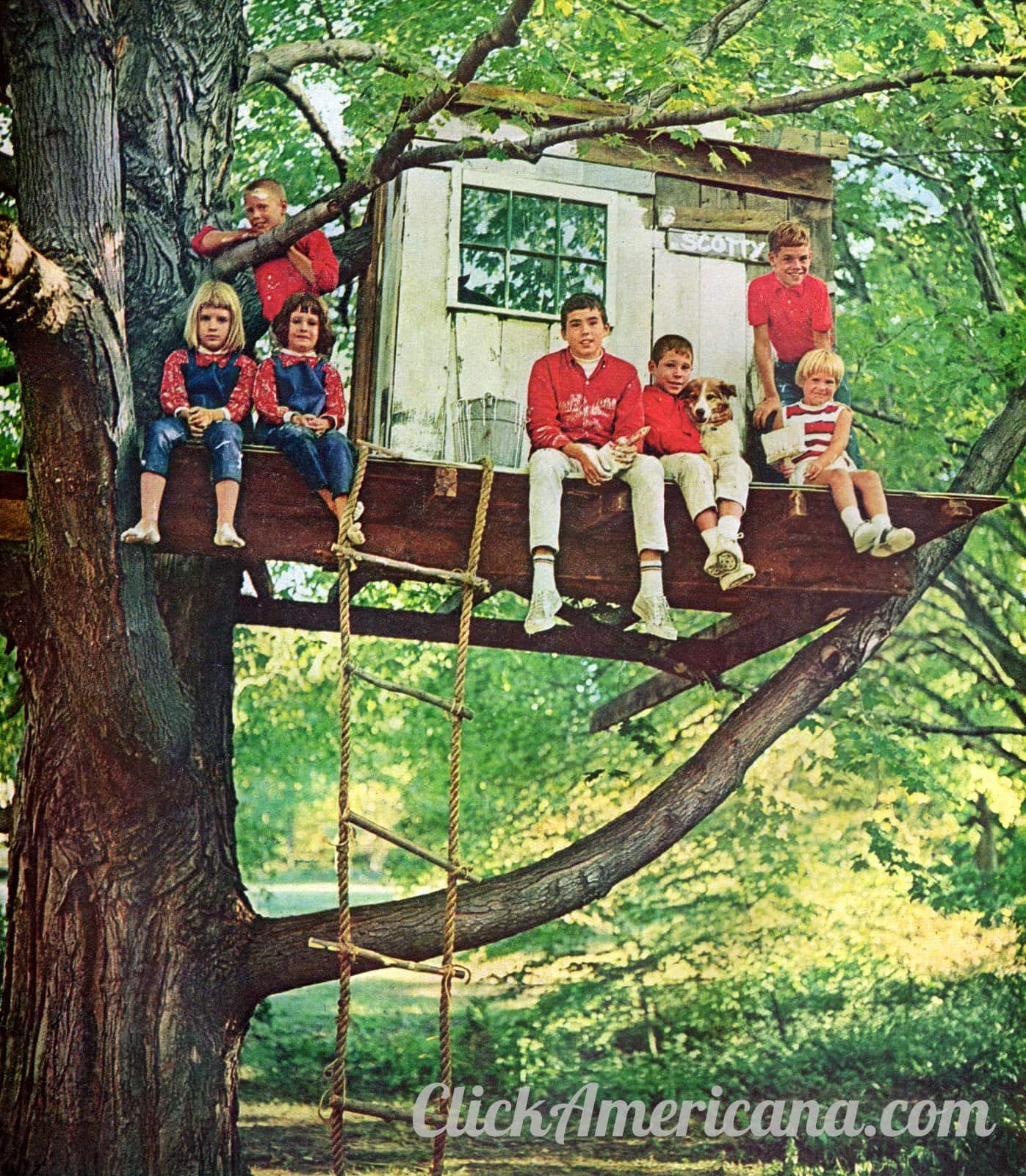 7 kids and a dog hanging out in their tree house (1965)