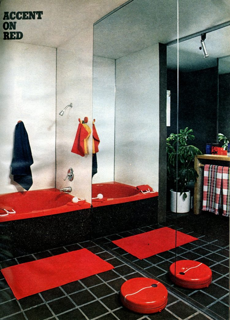 Red 70s retro bathroom decor