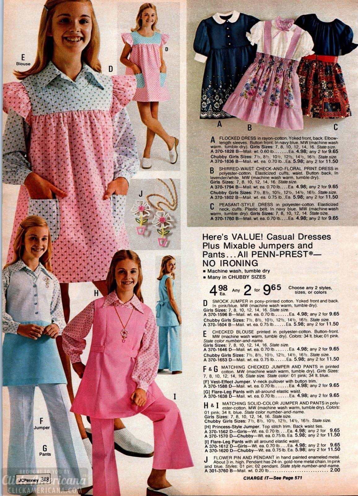 70s casual dresses plus mix-and-match jumpers and pants for girls