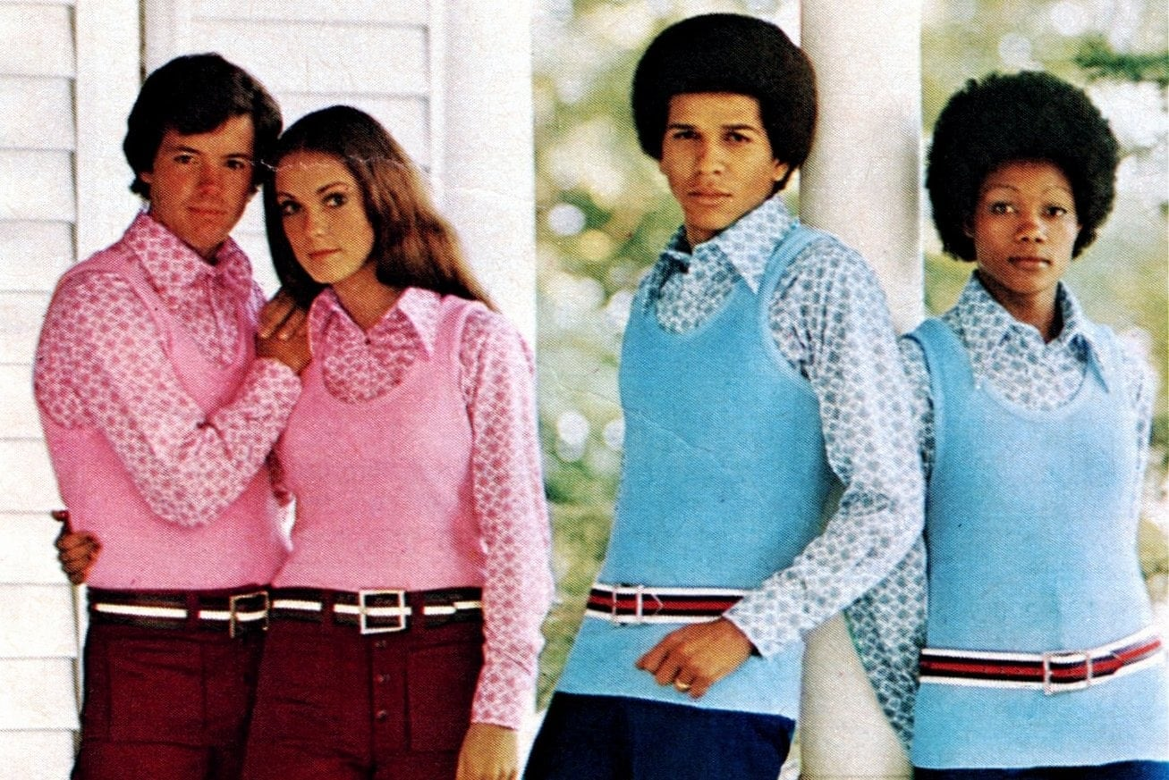 70s fashion - sweater vests for couples