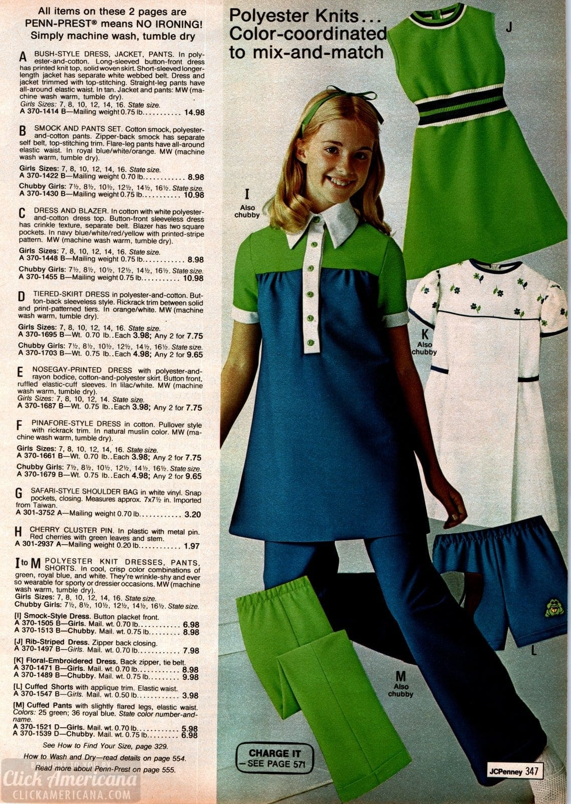 70s polyester knit clothing for girls