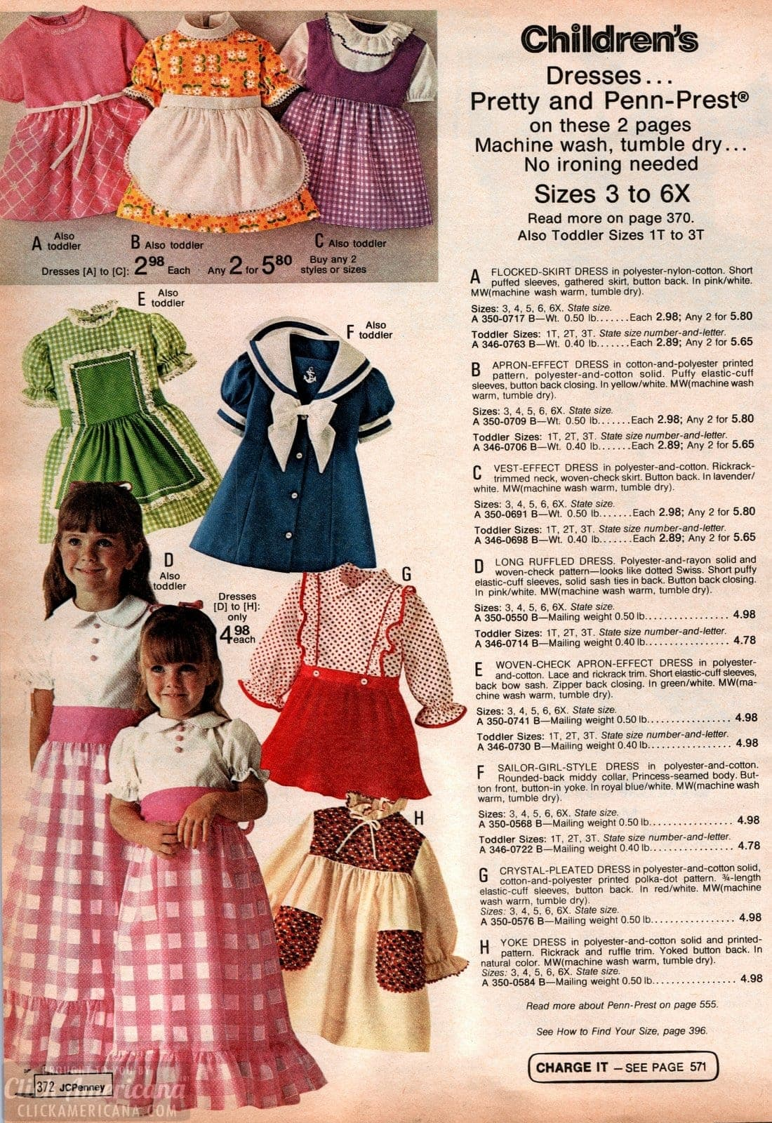 70s ruffled dresses and dresses with aprons for little girls - from 1973