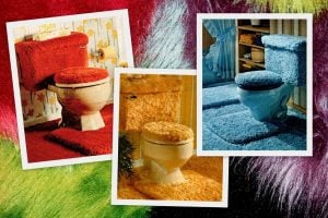 70s-style carpet toilet seat covers