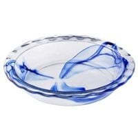 "Pyrex 1126849 Watercolor Collection Blue Lagoon 9.5"" Pie Plate, 1 Count, CLEAR"
