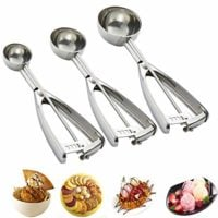 Cookie Scoop Set, 3 pieces - with Trigger - 18/8 Stainless Steel