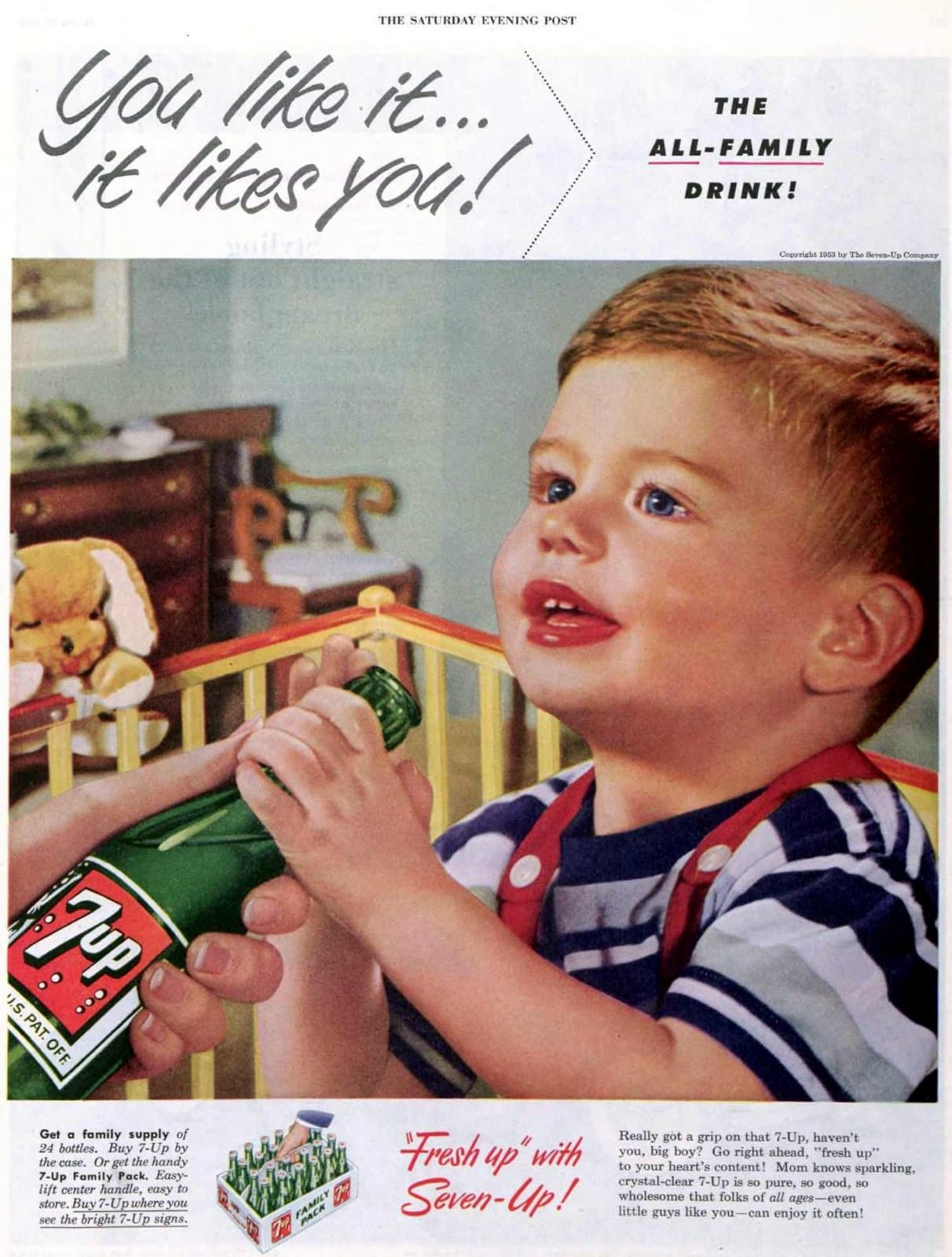 7UP lemon-lime soda for toddlers (1953)