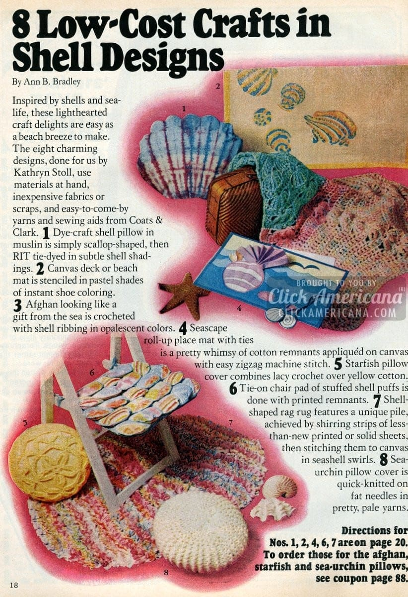 8 cute low-cost shell design crafts (1974)