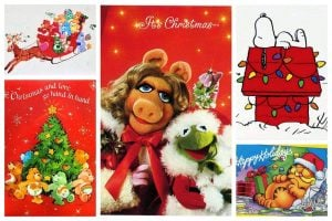 '80s Christmas cards with cute characters from TV - comic strips