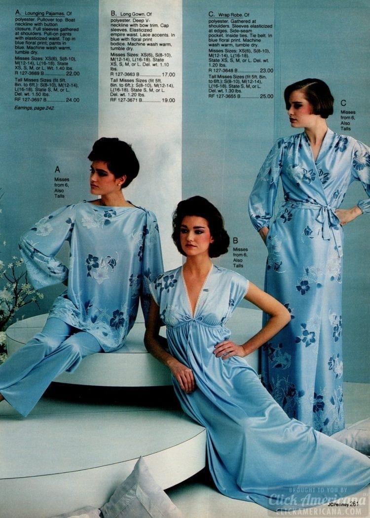 80s blue floral lounging pajamas - 1983