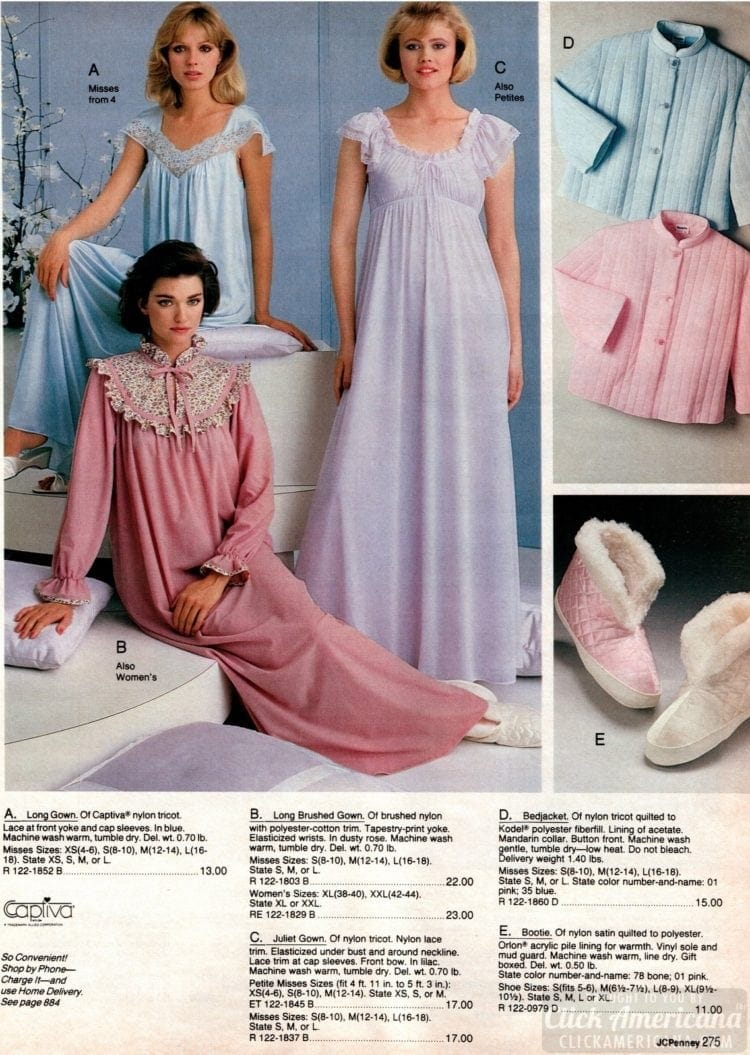 80s frilly vintage nightgowns - 1983