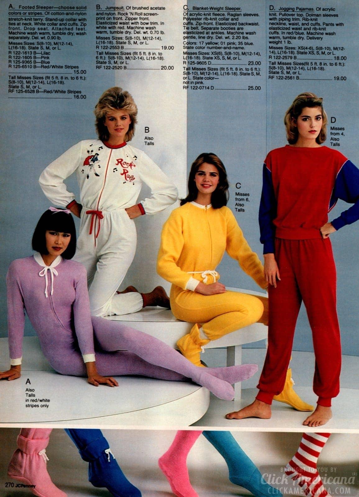 80s kiddie PJs on women - sleeper jumpsuit 1983