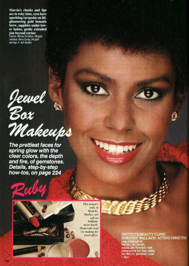 '80s makeovers - cheeks and lips are in ruby tints