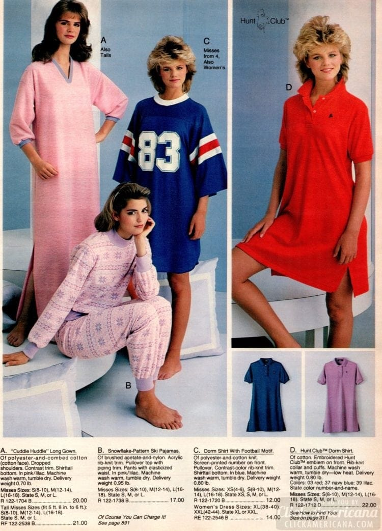 80s pajamas and night shirts from 1983