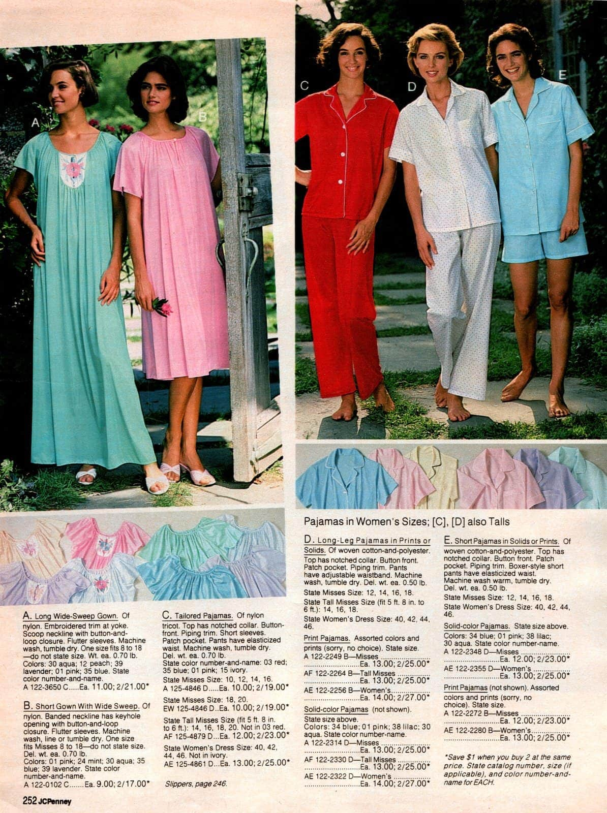 80s pajamas, nightgowns & other sleepwear