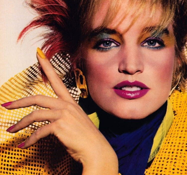 80s rainbow eye makeup in Mademoiselle from June 1985