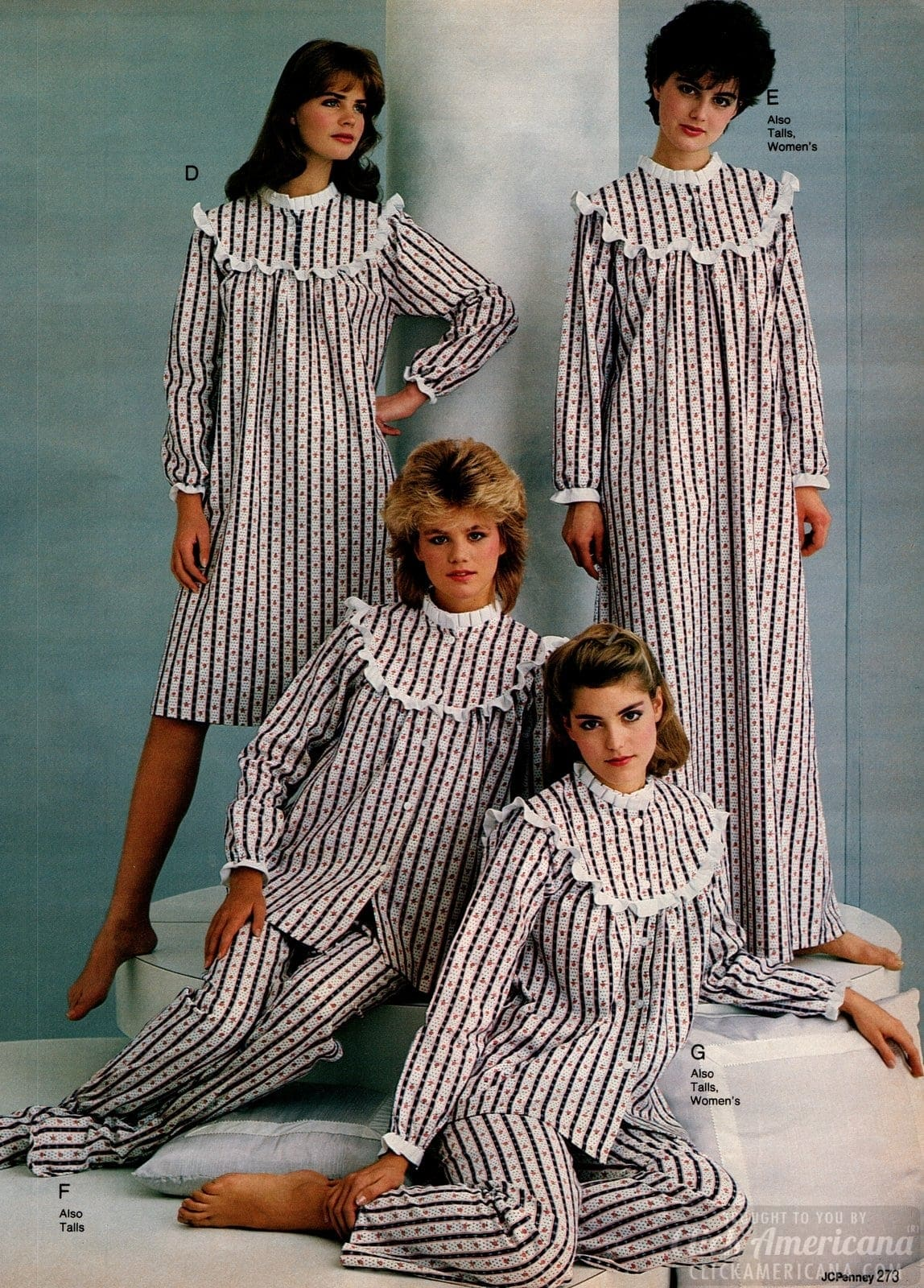 80s retro flannel pajamas and nightgowns 1983