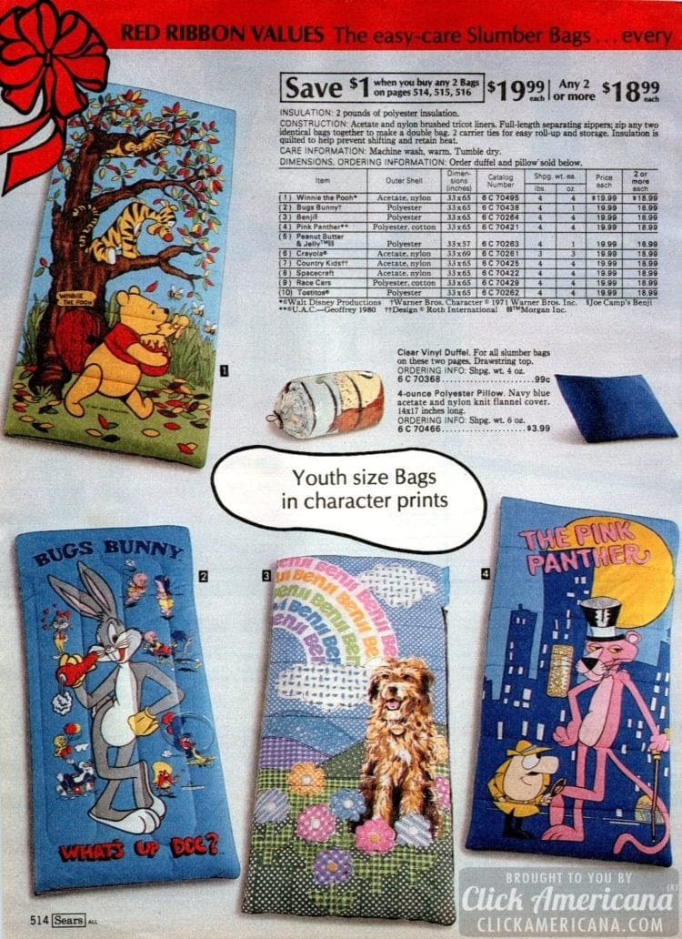 80s sleeping bags - Winnie the Pooh, Bugs Bunny, Benji, Pink Panther