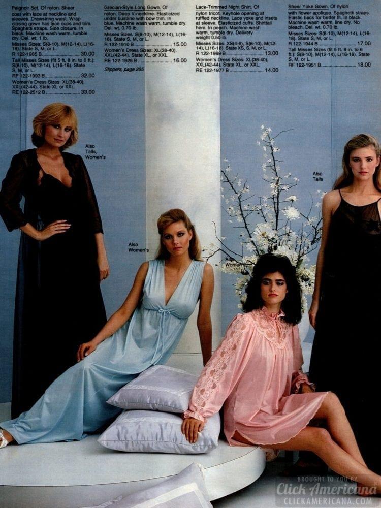 80s vintage sexy nylon nighties - 1983