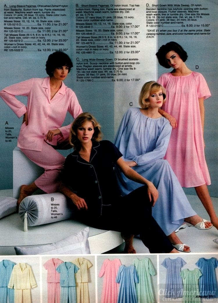80s Women's pajamas and nightgowns